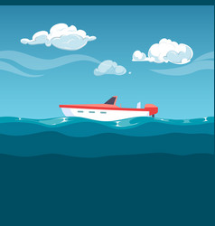 sea red boat rocking on the waves vector image
