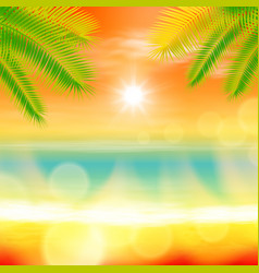 Sea summer sunset with palmtree and light on lens vector