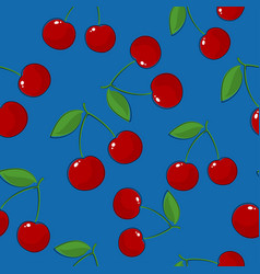 Seamless pattern cherry on blue background vector