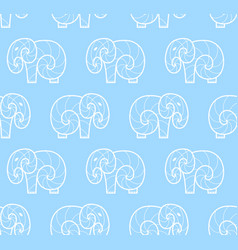 Seamless pattern of white simple elephant vector