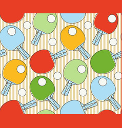 Seamless pattern ping pong racket league table vector