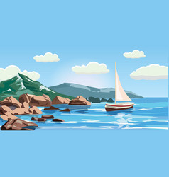 Seascape rocks cliffs a yacht under sail ocean vector