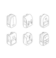 set backpacks isometric icons in line design vector image