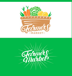 Set of farmers market hand written lettering logos vector