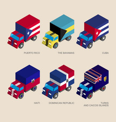 Set of isometric 3d cargo vector