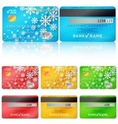 Set of realistic credit card two sides vector image
