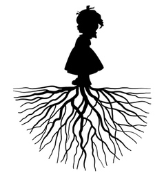 Silhouette a girl with root vector