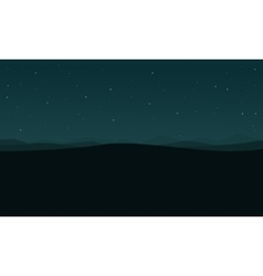 Silhouette of desert and star at night landscape vector image