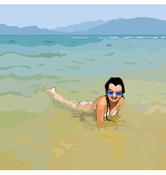 Smiling girl in sunglasses lying in water vector