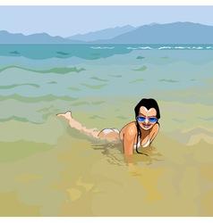 Smiling girl in sunglasses lying in water vector