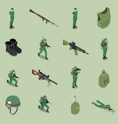 soldier equipment isometric set vector image