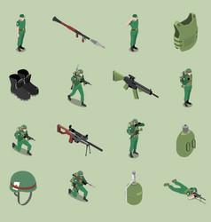 Soldier equipment isometric set vector