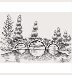 stone bridge over river hand drawn landscape vector image