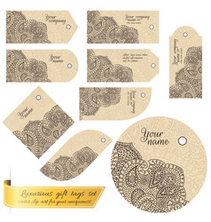 Tag set with lace for gifts and goods vector