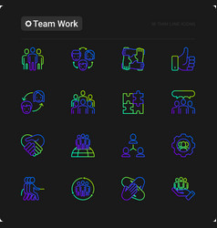 Teamwork thin line icons set vector