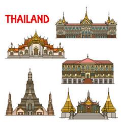 Thai travel landmark bangkok architecture vector