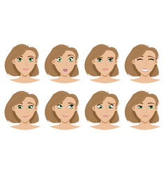 the set expressions on girls face vector image
