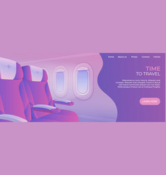 time to travel landing page view from airplane vector image