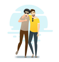 two young men having fun together vector image