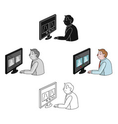Video conference icon in cartoonblack style vector