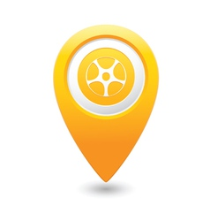 Wheel icon yellow map pointer vector