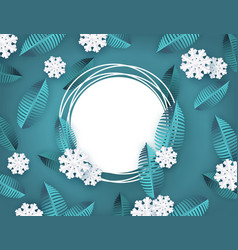 winter background with leaves and snowflake vector image