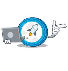 with laptop stellar coin character cartoon vector image