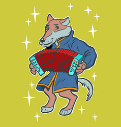 wolf plays accordion harmonica fairytale vector image