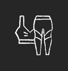 Workout clothes chalk white icon on dark vector