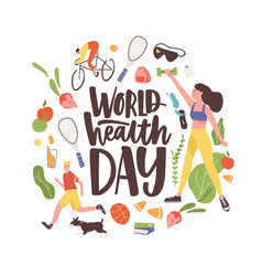 world health day inscription with bundle vector image