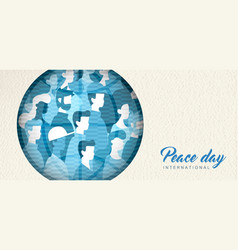 World peace day banner cutout for people unity vector
