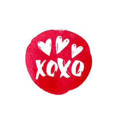 Xoxo text and heart watercolor banner design vector