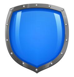 Blue shiny glossy shield vector