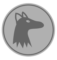 fox head silver coin vector image