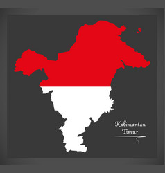 kalimantan timur indonesia map with indonesian vector image