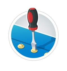 Screwdriver with screw vector image