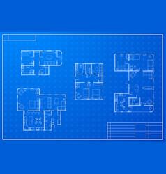 set of different blueprint house plans vector image