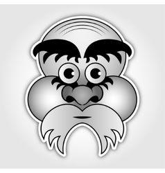 sticker - old man with a beard and eyebrows vector image