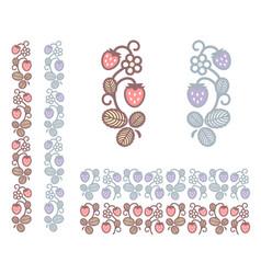 strawberry unusual colors ornament vector image vector image