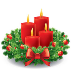 Christmas advent wreath with burning candles vector
