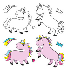 cute unicorn set for kids coloring book vector image vector image