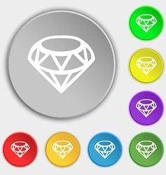 Diamond icon sign symbol on eight flat buttons vector
