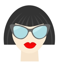 Fashion brunet woman face with sexy red lips vector