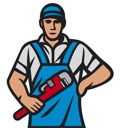plumber holding a wrench vector image vector image