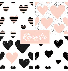 Romantic seamless patterns set vector