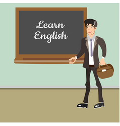 young teacher by blackboard vector image vector image