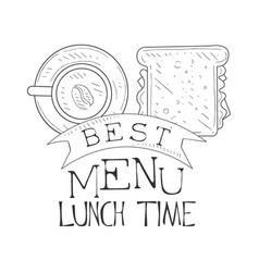 best cafe lunch menu promo sign in sketch style vector image vector image