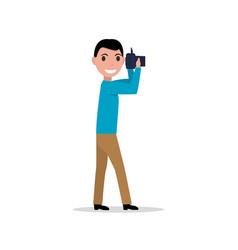 cartoon man with photo camera vector image vector image