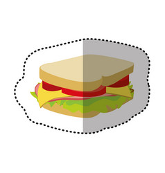colorful sandwich fast food icon vector image vector image