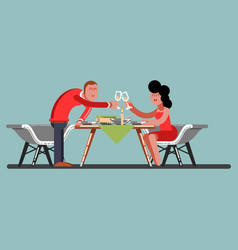 girl and guy having a romantic dinner vector image
